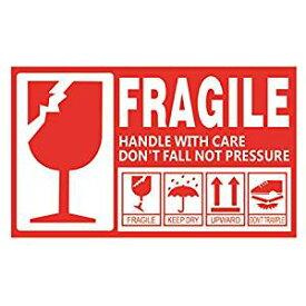 creve FRAGILE フラジール ステッカー ラベル Sサイズ 9×5cm 防水 光沢 こわれもの 取り扱い注意 スーツケース デコレーション (30枚セット)[un]