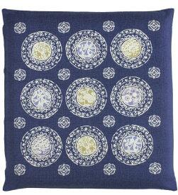 メリーナイト 日本製 綿100% 座布団カバー 「家紋」 銘仙判 55×59cm ブルー Z601-72