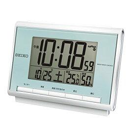セイコー クロック 目覚まし時計 電波 デジタル カレンダー 温度 湿度 表示 薄青 パール SQ698L SEIKO[un]