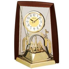 セイコー クロック 置き時計 アナログ 回転飾り 茶 メタリック BY426B SEIKO[un]