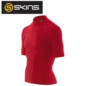 インナーシャツ【スキンズ skins メンズ ショートスリーブトップ(モックネック) レッド J57187016D】コンプレッションインナー スポーツインナー
