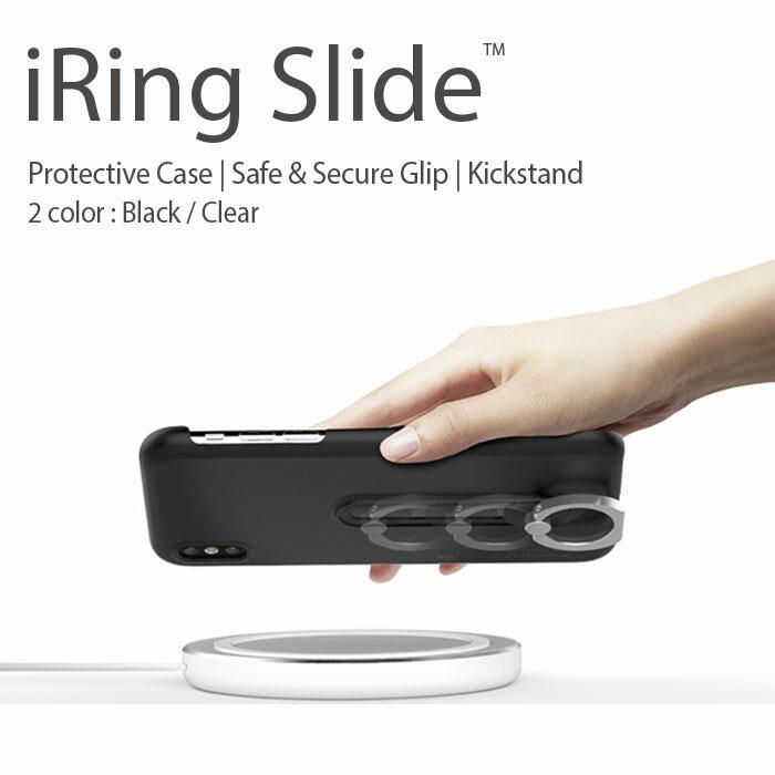 【日本正規総代理店】iRing Slide アイリングスライド スマホ落下防止 セーフティグリップ&ポータブルスタンド ワイヤレス充電