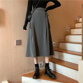 2colors ダブルリボンロープハイウエストスカート ロングスカート ウエストダブルリボン セミフレアー レディース S M L XL グレー ブラック