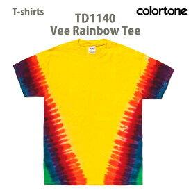 【短納期対応 まとめ買い歓迎 】タイダイ Tシャツ 半袖【colortone トーン TD1140 vee Rainbow Tee 】メンズ レディース ユニセックス ビンテージ風 インポート カジュアル 染めTシャツ 綿100% レインボー YL〜XL【10.000円以上 送料無料】ファッション ウェア