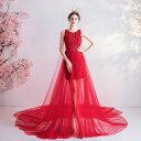 カラードレス ロングドレス 花嫁 ステージ衣装 赤 演奏会 パーティードレス レッド 発表会 二次会 結婚式 フォーマル…