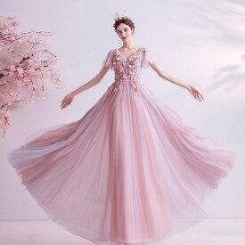 ロングドレス カラードレス ピンク お花嫁ドレス パーティードレス 結婚式 ウェディングドレス 二次会ドレス イブニングドレス 演奏会 成人式 社交 お呼ばれ お嬢様 透け感 大きい 小きい セミオーダー/編み上げ