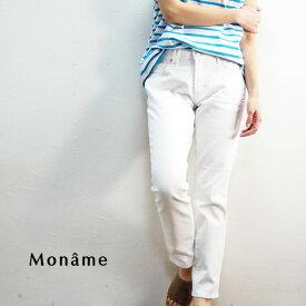 Moname モナーム デニム パンツ 41161013 ジーンズ ジーパン レディース デニムパンツ ロングパンツ テーパード ストレッチ おしゃれ かわいい きれいめ 上品 カジュアル 白 ホワイト 大きいサイズ ゆったり 楽ちん シンプル 無地 大人