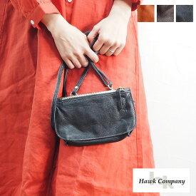Hawk Company ホークカンパニー BAG バッグ 3245 ショルダーバッグ ショルダー 鞄 かばん レディース ポーチ 小物入れ 財布 ウォレット ポシェット バッグインバッグ 斜めがけ レザー 革 牛革 黒 ブラック ブラウン きれいめ 上品 カジュアル シンプル 無地