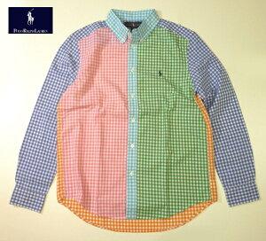 RALPH LAUREN BOYS ギンガムチェックシャツ ラルフローレン クレイジーパターン 長袖 ボタンダウン マルチカラー ボーイズ XLサイズあり メンズ Mサイズ相当あり 送料無料 送料込み