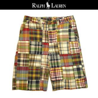 男孩的拉爾夫勞倫短褲拼湊馬德拉斯複選男孩拉爾夫勞倫短褲大小 20 短的短褲男裝 32 度 02P02Aug14