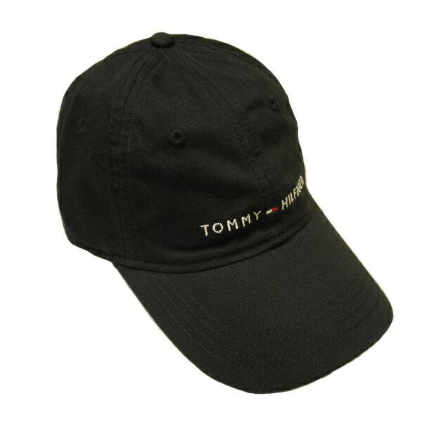 【再入荷しました!】TOMMY HILFIGERトミーヒルフィガーキャップベースボールキャップ帽子トリコロールロゴブラック 黒色メンズ[レディース兼用]【送料無料】【送料込み】