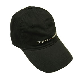 【再入荷しました!】TOMMY HILFIGERトミーヒルフィガーキャップベースボールキャップ帽子トリコロールロゴブラック 黒色 バックレザーベルトメンズ[レディース兼用]【送料無料】【送料込み】