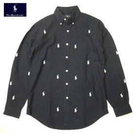 ラルフローレン ボタンダウンシャツ RALPH LAUREN 長袖 モノグラム ポニーホワイト ロゴ 総柄 ネイビー メンズ Sサイズ 送料無料 送料込み