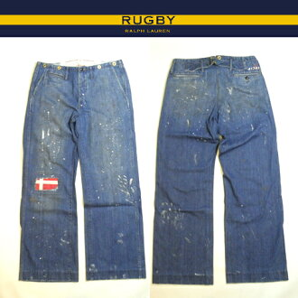 Ralph Lauren Rugby denim Rugby Ralph Lauren jeans Indigo Denim buggy fit boot cut work pants damage & paint processing 02P03mar13