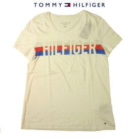 トミーヒルフィガー LadysTシャツTOMMY HILFIGERボーダーロゴトリコロールフラッグロゴ刺繍ホワイトレディース Sサイズ Mサイズ【送料無料】【送料込み】