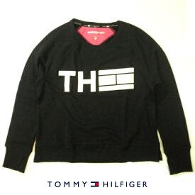 トミーヒルフィガー スポーツトレーナートリコロールカラーフラッグトロゴデザインプリントTOMMY HILFIGER SPORTスウェットシャツブラック×ホワイトレディース XLサイズ02P18Sep17【送料無料】【送料込み】