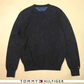 トミーヒルフィガー TOMMY HILFIGER コットンニット ペイズリー柄 トリコロールフラッグロゴ クルーネック ネイビー×ブルー メンズ XSサイズ 送料無料 送料込み