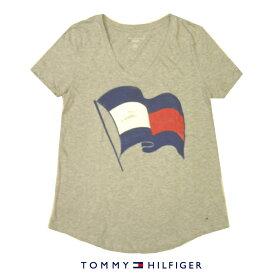 トミーヒルフィガー LadysTシャツTOMMY HILFIGERトリコロールフラッグロゴプリントVネックグレーレディース Sサイズ【送料無料】【送料込み】