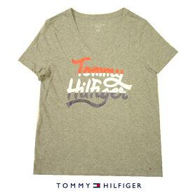 トミーヒルフィガー LadysTシャツTOMMY HILFIGERトリコロールカラーロゴプリント ラメVネックグレーレディース Mサイズ【送料無料】【送料込み】