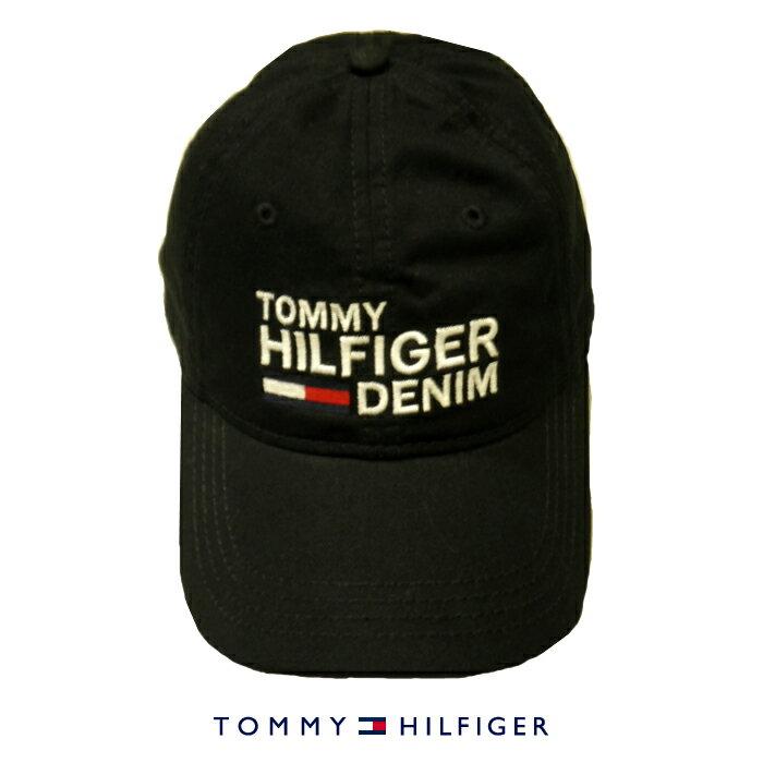 TOMMY HILFIGER DENIMトミーヒルフィガーキャップベースボールキャップ帽子トリコロールフラッグロゴブラック 黒色メンズ[レディース兼用]