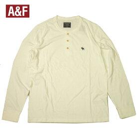 アバクロ ヘンリーネックロンT アバクロンビー 長袖Tシャツ ムースロゴワンポイント ホワイト メンズ 大きいサイズ XLビッグサイズあり メール便ネコポス送料無料 ※代引,日時指定は注文確定後に宅急送料加算。