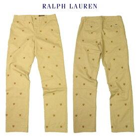 ラルフローレン ボーイズチノパンRalph Laurenクレストモノグラム刺繍パンツ ストレッチ総柄キッズ ボーイズサイズ20[XL相当]約30インチメンズSサイズ相当ベージュ02P12Feb19【送料無料】