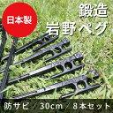 【 日本製 鍛造 岩野ペグ 30cm 8本セット 】 i-WANO オリジナル ヘッドが大きく打ち込みやすい 硬い地面でもぐいぐい…