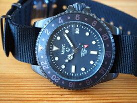 メンズ 腕時計 ブランド ミリタリーウォッチ カンパニー 軍用時計 MWC時計 ミリタリーダイバーGMT PVD ブラック 黒 2ヶ国時刻 クォーツ スイス ロンダ Ronda515.24 20mm NATO ストラップ 2本付き 300m防水