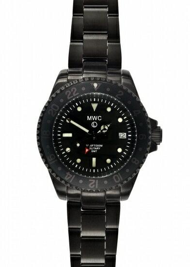 メンズ腕時計 ブランド ミリタリーウォッチ カンパニー MWC時計 ミリタリー ダイバー GMT ブラック PVD クォーツ ロンダ Ronda515.24 2ヶ国 時刻 表記 ステンレスブレスレット 300m 防水