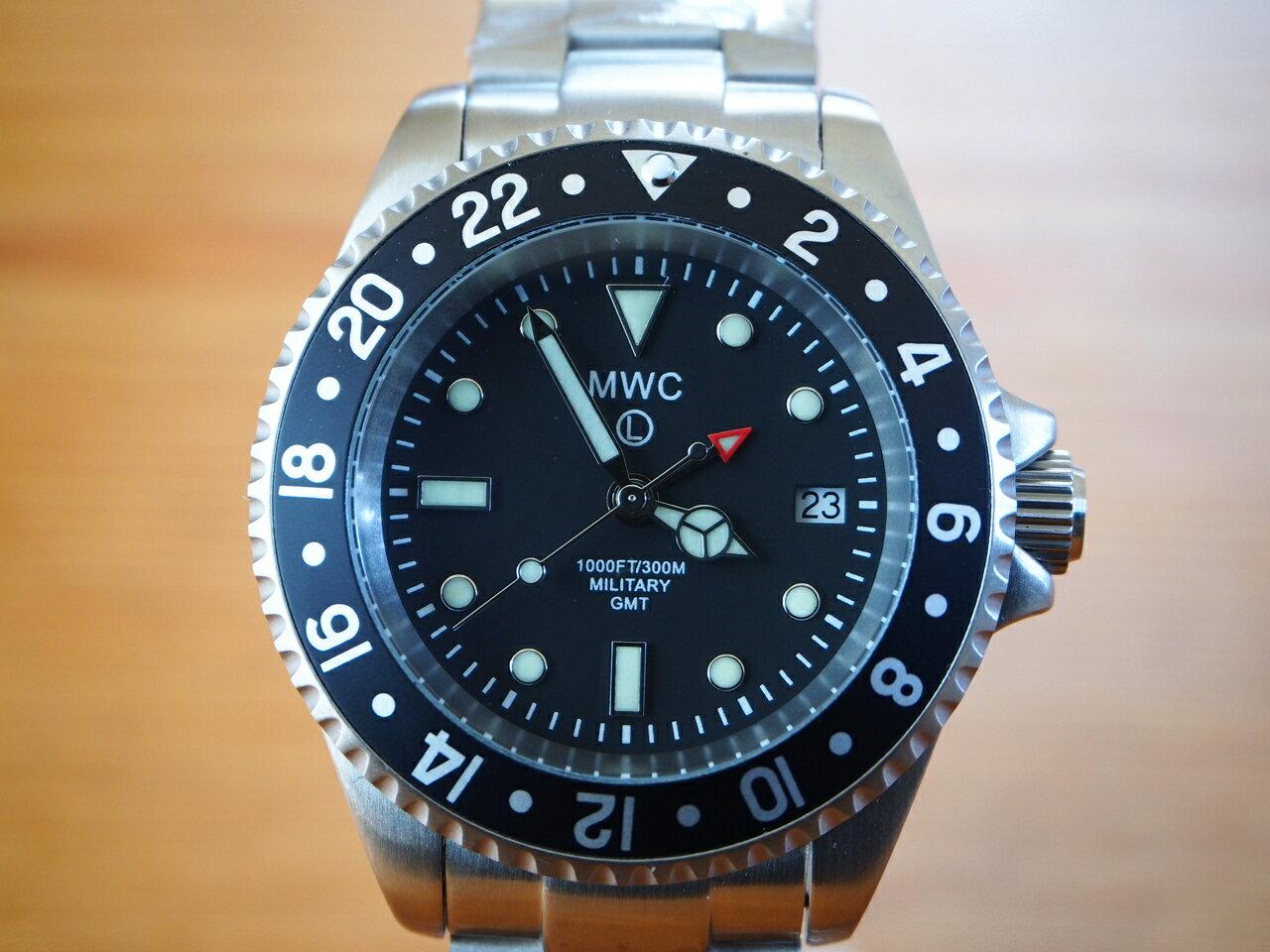 MWC時計/ミリタリーダイバーGMT/2ヶ国時刻/クォーツ/Ronda515.24/ ステンレスベルト/300m防水