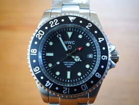 MWC時計 ミリタリー ダイバー GMT 2ヶ国時刻 クォーツ Ronda515.24 ステンレスベルト 300m防水