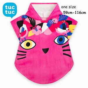 tuctuc ベビー キッズ 子供 女の子 フード付き タオルポンチョ プールタオル 着ぐるみタオル バスローブ 可愛い かわいい おしゃれ ねこ ピンク インポート スペイン