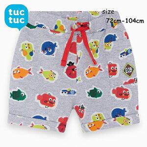tuctuc 子供服 ベビー服 キッズ 半ズボン 短パン ズボン ハーフパンツ おさかな 魚 グレー 赤 ジャージ カラフル ポップ かっこいい かわいい おしゃれ 男の子 インポート 海外 スペイン 1〜4歳