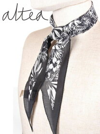 【国内正規品】 Altea アルテア ネッカチーフ コットン×シルク ブラック×ホワイト AL191UA1950008 イタリア製 スカーフ ボタニカル柄 花柄