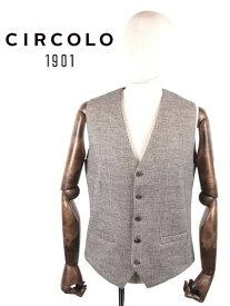 【国内正規品】CIRCOLO1901 チルコロ1901 5Bグレンチェック プリント ジレ・ベスト ジャージー 9204G239617 グレー