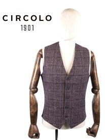 【国内正規品】CIRCOLO1901 チルコロ1901 5Bチェック プリントジレ・ベスト ジャージー 9204G243829 NOTT 紫系