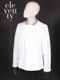 【国内正規品】ELEVENTY イレヴンティ 鹿の子 長袖 ポロシャツ ホワイト FE0181-FEL25001 イタリア製 コットン イレブンティ