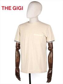 【50%OFFセール】【国内正規品】 THE GIGI ザ・ジジ パイル カットソー Tシャツ ベージュ RODI RH809 袖ボーダー 胸ポケット