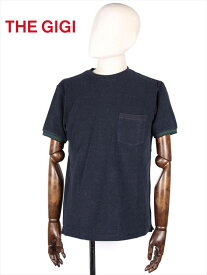 【30%OFFセール】【国内正規品】 THE GIGI ザ・ジジ パイル カットソー Tシャツ ネイビー RODI RH809 袖ボーダー 胸ポケット