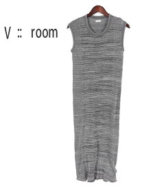 【30%OFFセール】【レディース】【国内正規品】V::room ヴイルーム ワッフル ロングワンピース ノースリーブ LVR19S8023 杢チャコールグレー vroom