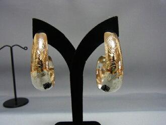 银针叶设计贴花板耳环 SILVER925