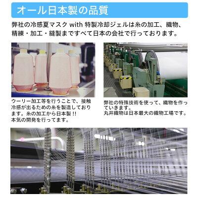 ひんやりジェル夏マスク冷却ジェル付き接触冷感マスク日本製布マスク速乾洗えるマスク防菌フィルタ30日分(5枚)付き