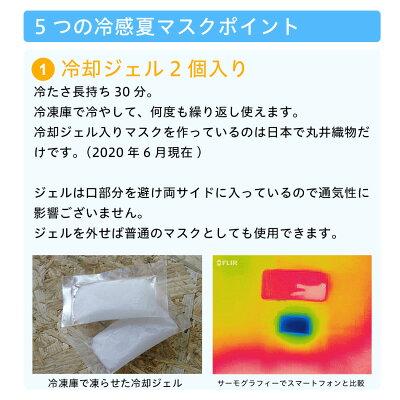 即納接触冷感マスク日本製ひんやりマスク布マスク速乾洗えるマスク防菌フィルタ30日分(5枚)付き