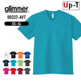 ドライTシャツ メンズ Vネック 00337-AVT glimmer 無地 アパレル