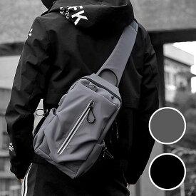 ボディバッグ ワンショルダーバッグ メンズ ストリート かっこいい 斜めがけ 肩掛け USB 充電 携帯充電 撥水 おしゃれ 通勤 通学 アウトドア 軽量 シンプル スクエア サイクリング ツーリング ブラック グレー 長財布