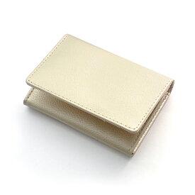 シャンパンゴールド 牛革製 メンズ カードケース 名刺入れ メンズ カード入れ 風水 レザー メタリックゴールド 金運 金色 金財布 金運財布