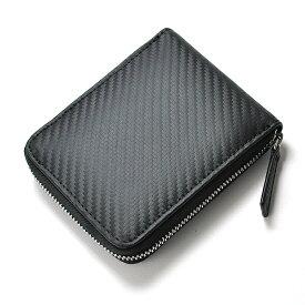メンズ カーボンレザー コインケース 革 黒 メンズ 財布 小銭入れ カーボン ラウンドファスナー グレイン 男性 紳士 撥水 軽量