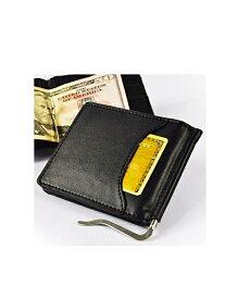 メンズ 財布 牛革 レザー 紳士 ブラック 黒 財布 マネークリップ キップレザー 財布 本革 レザー 札ばさみ 二つ折り財布