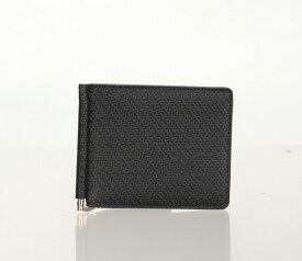メンズ 財布 マネークリップ 財布 カード 革 ブランド カーボンレザー 紳士 黒 マネークリップ 牛革 レザー 札ばさみ 二つ折り財布