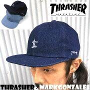 THRASHER×GONZ【スラッシャー×マークゴンザレス】スナップバックキャップデニムスケート刺繍CAPストリートスケーター2017年モデル17TH-C20/